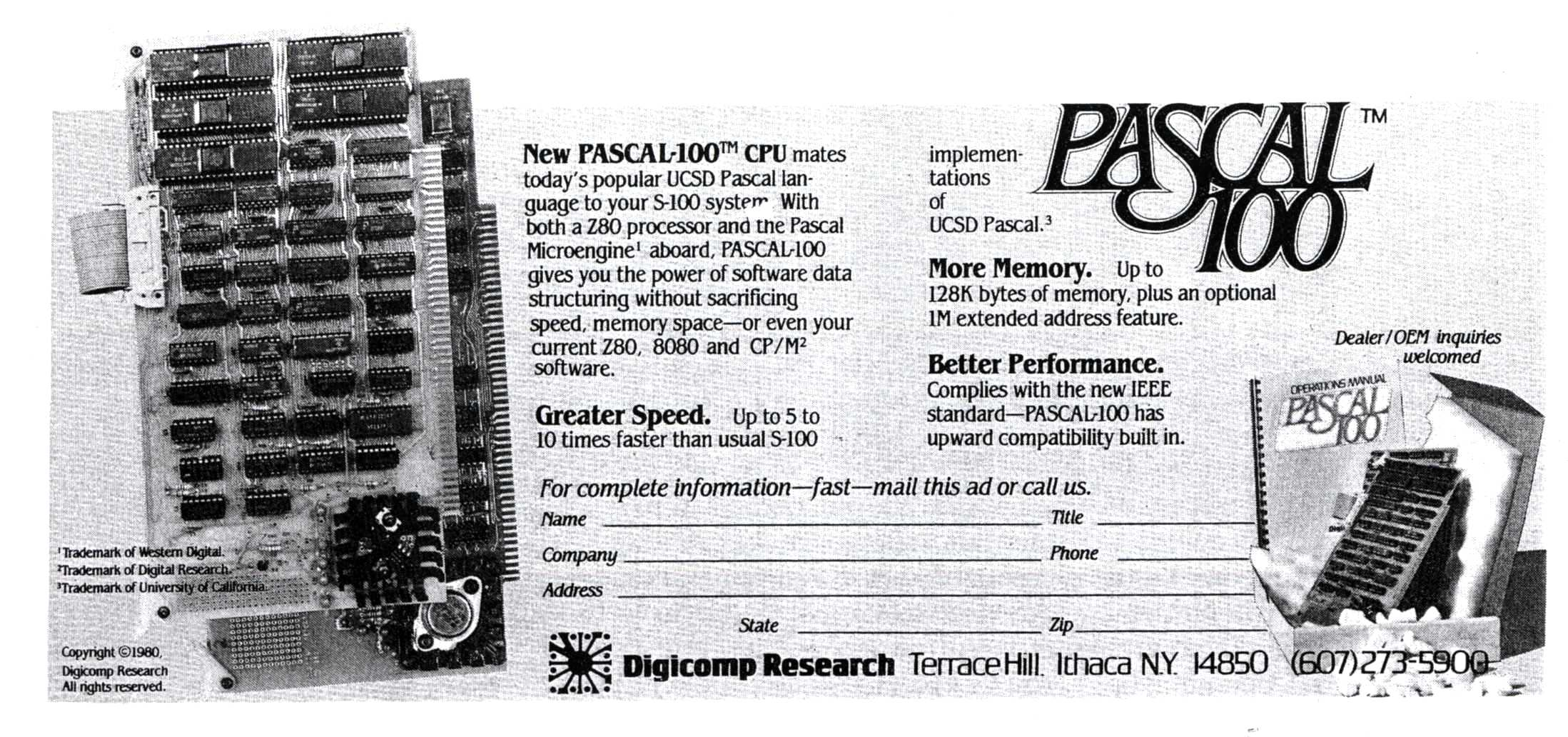 Advertisement for the Digicomp PASCAL-100, a two-board CPU for the S-100 bus based on the WD/9000 Microengine chipset.