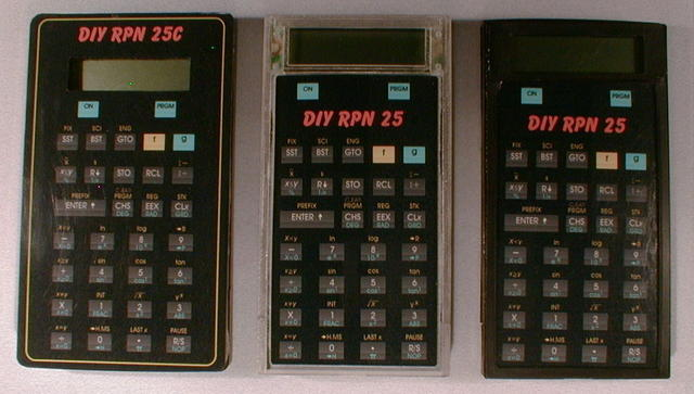 A DIY1 and two DIY2 calculators. The DIY1 uses a modified off-the-shelf case with a laminated photo paper overlay. The DIY2 us